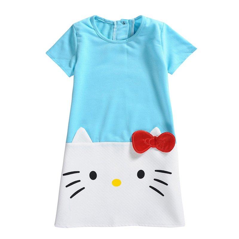 HOT Baby Girls Dresses Hello Kitty 2017 Brand Children Dresses