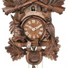 One Day Hunter's Cuckoo Clock - Hand-carved Oak Leaves, Animals, Crossed Rifles, & Buck - # 19-16