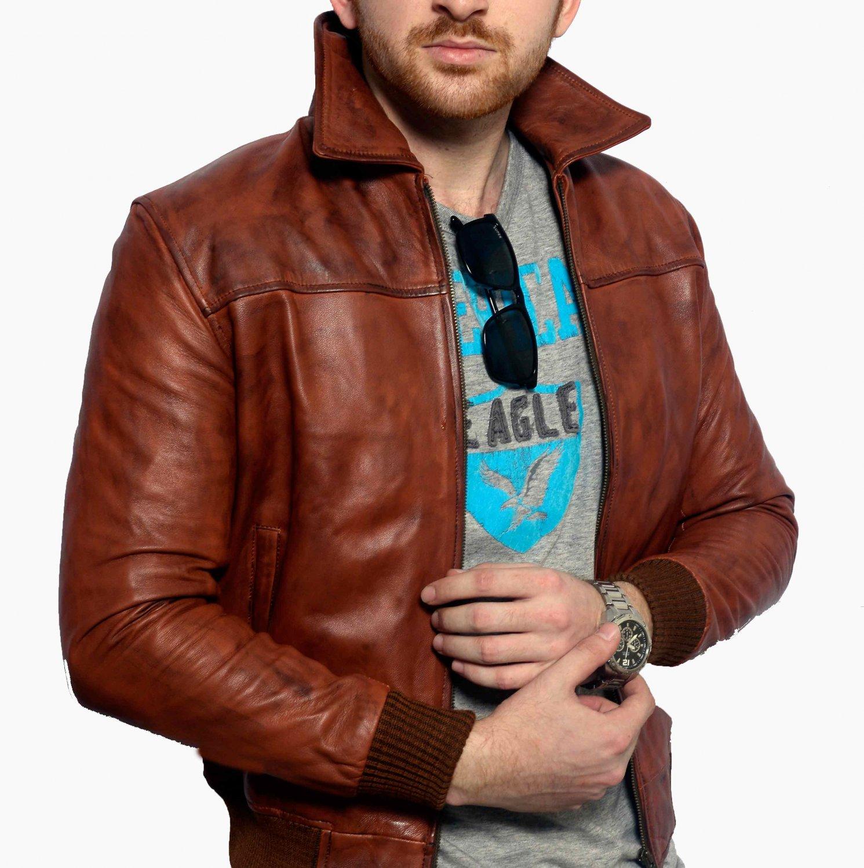 Mens leather jacket bomber jacket vintage jacket brown leather jacket