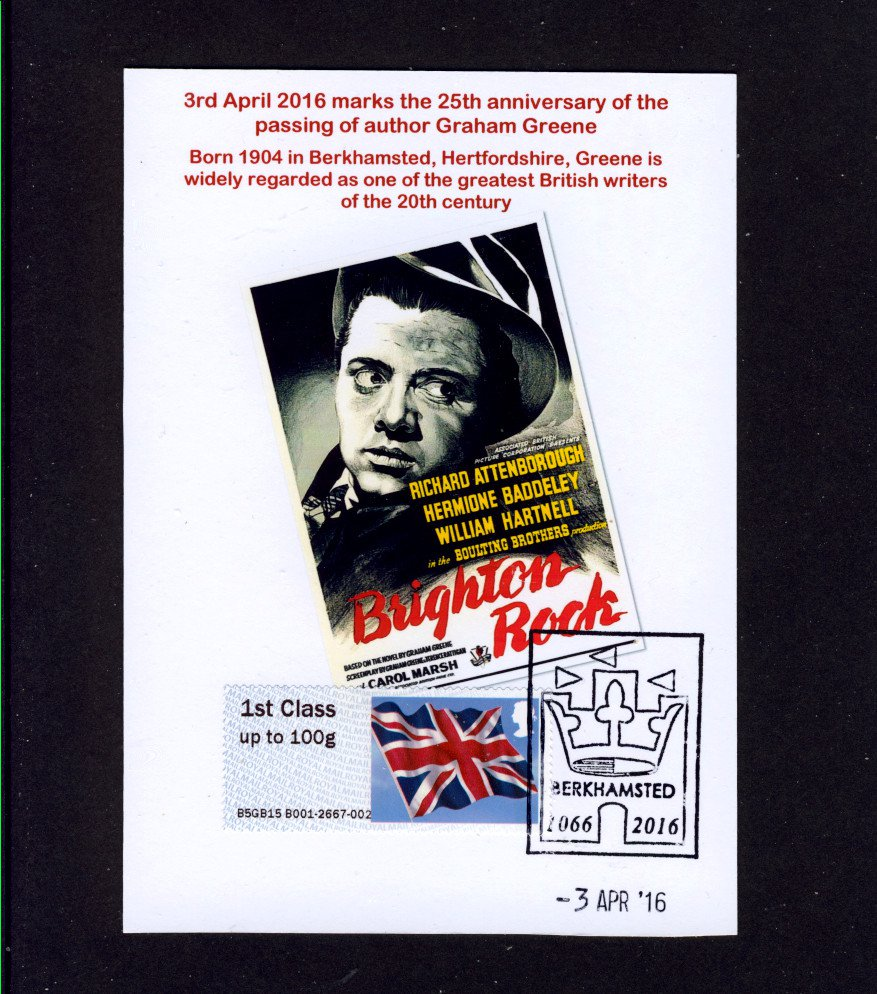 Graham Greene Postcard of Brighton Rock Movie Poster - Post & Go Stamp used Special Berkhamsted Pmk
