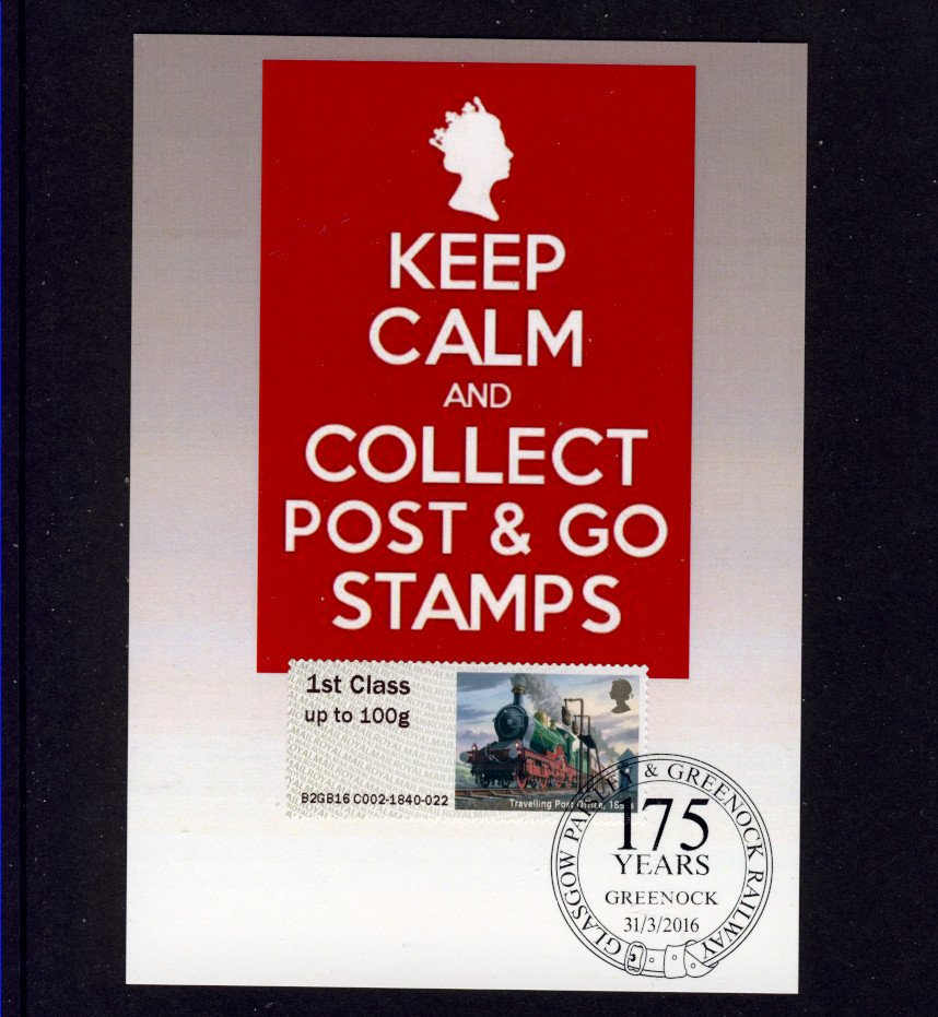 TPO Steam Train Post & Go Stamp from Spring STAMPEX 2016 used Special Greenock Postmark on PC