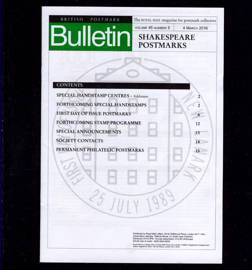 Royal Mail British Postmark Bulletin Volume 45 Number 5 Issued 4 March 2016