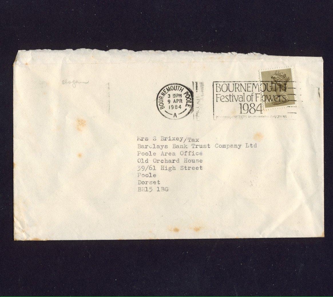 Slogan Postmark - BOURNEMOUTH Festival of Flowers 1984 on commercially used envelope