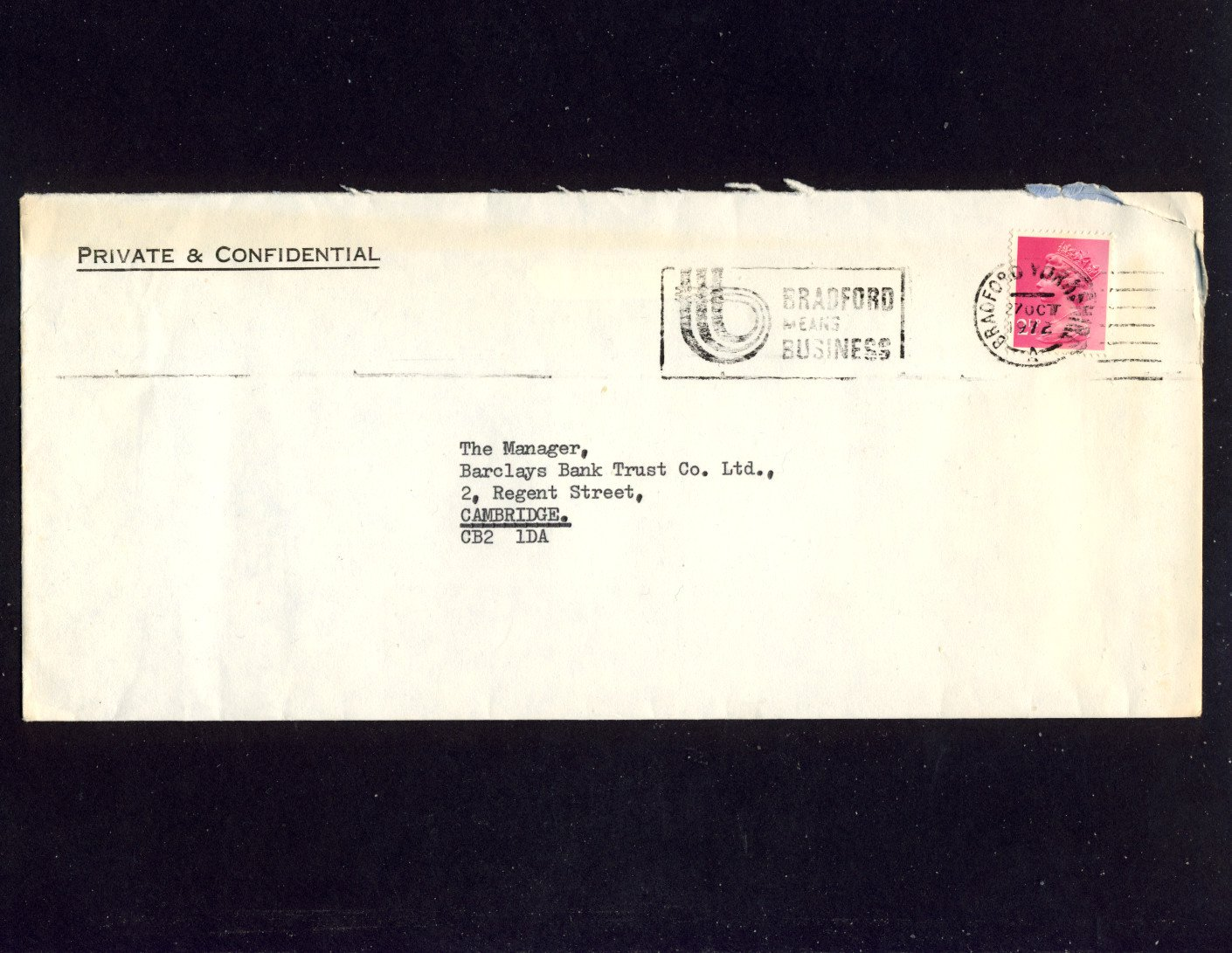 Slogan Postmark - BRADFORD MEANS BUSINESS 1972 on commercially used envelope