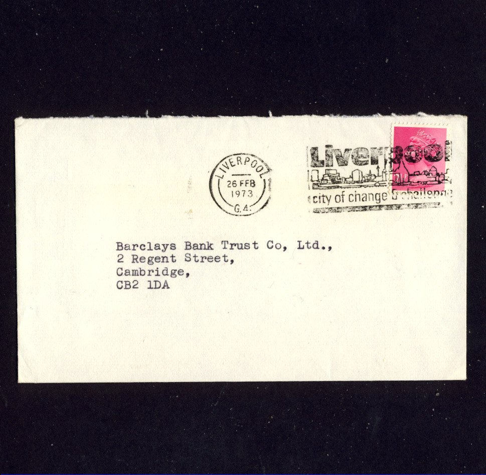 Slogan Postmark - LIVERPOOL CITY OF CHANGE & CHALLENGE 1973 on commercially used envelope