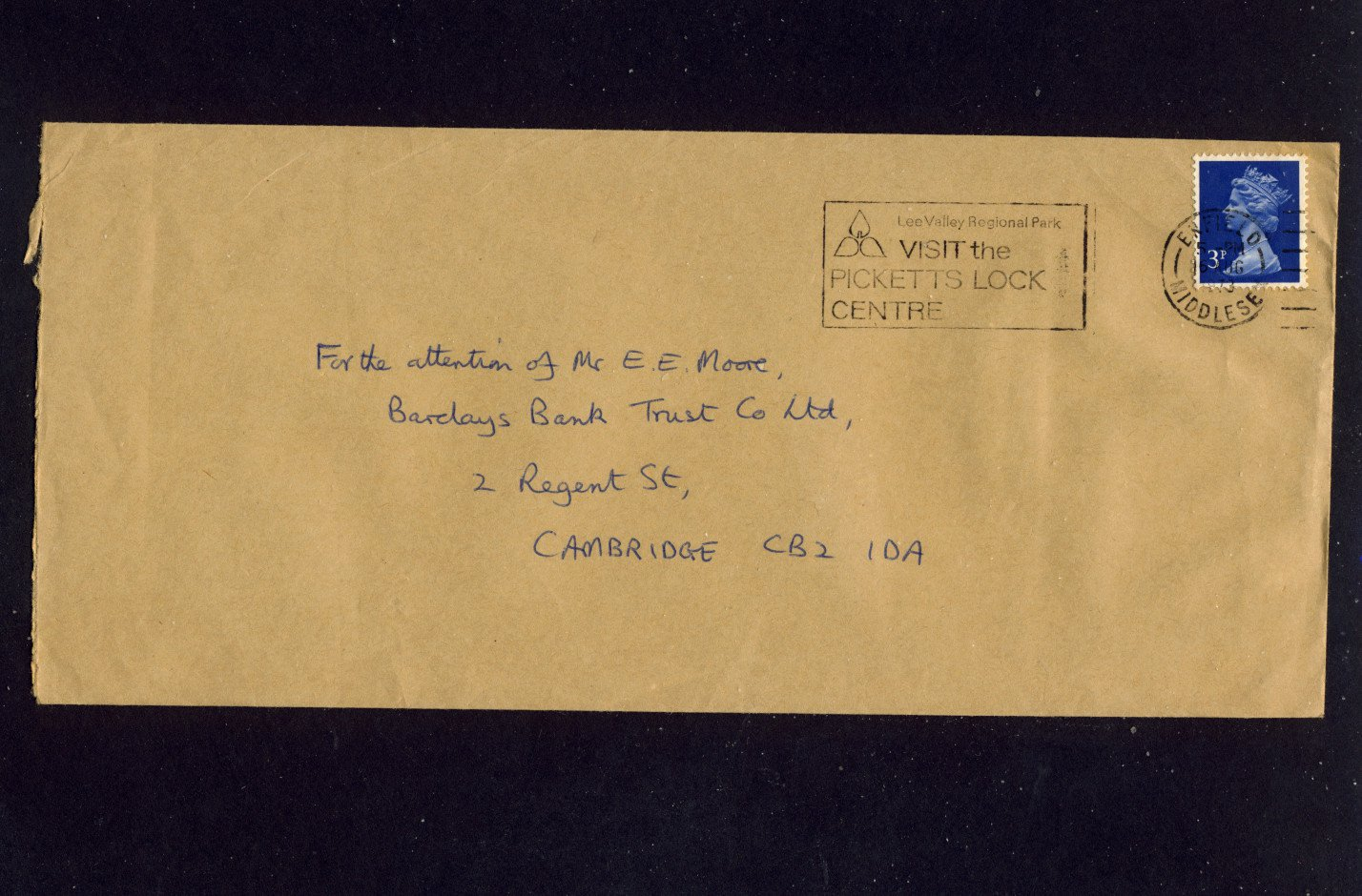 Slogan Postmark - Enfield VISIT THE PICKETTS LOCK CENTRE 1973 on commercially used envelope