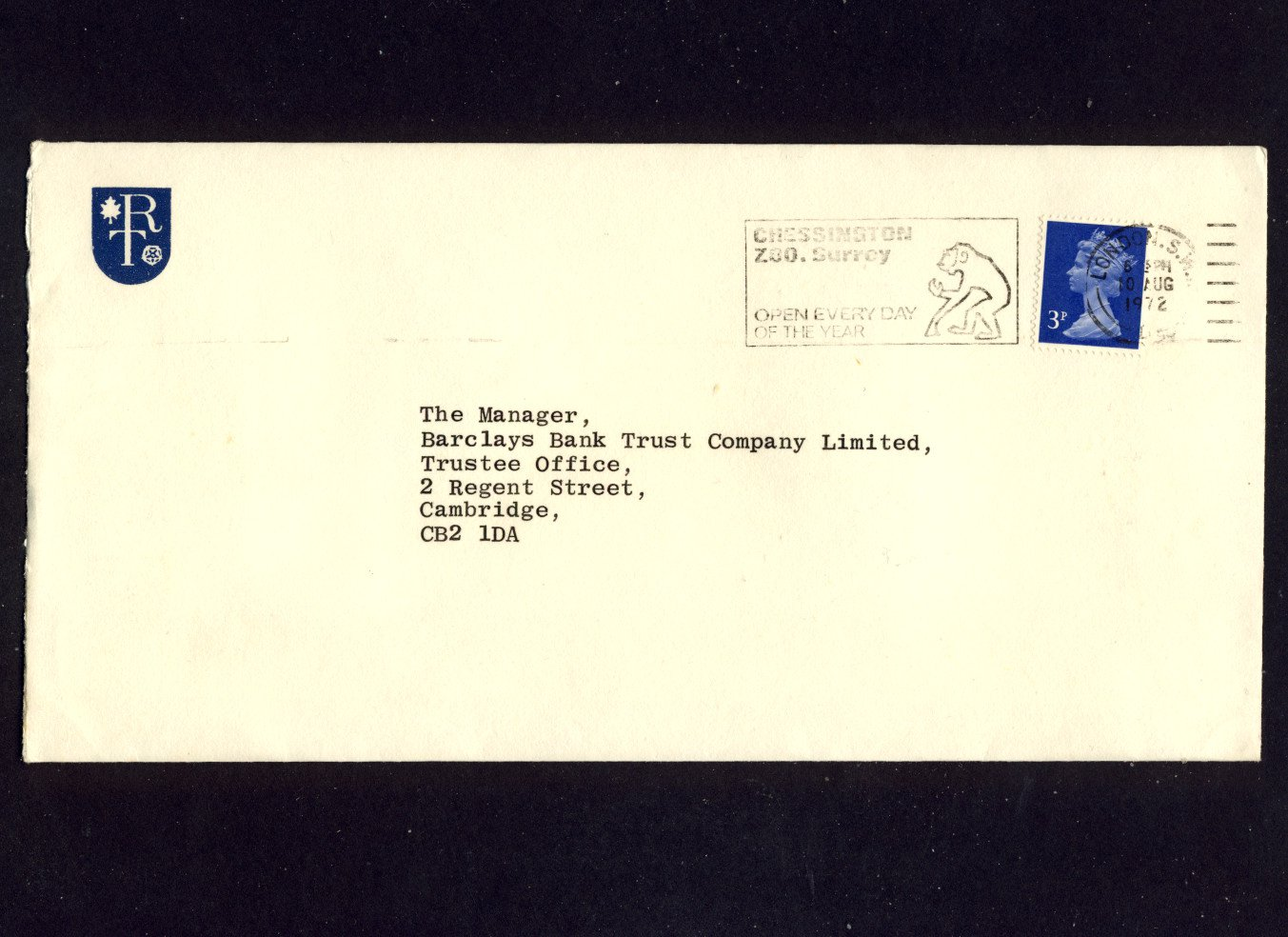 Slogan Postmark - CHESSINGTON ZOO SURREY 1972 on commercially used envelope