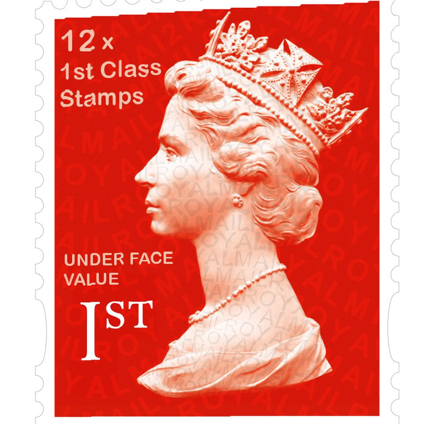 12 x 1st Class 100g GB Stamps - Unused FULL ORIGINAL GUM Face Value = 12 x £0.64 = £7.68
