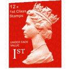 12 x 1st Class 100g GB Stamps - Unused FULL ORIGINAL GUM Face Value = 12 x £0.64 = £7.68