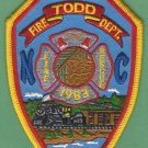 TODD NORTH CAROLINA FIRE RESCUE PATCH LOCOMOTIVE