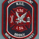 Bronx New York Engine 96 Ladder 54 Fire Company Patch