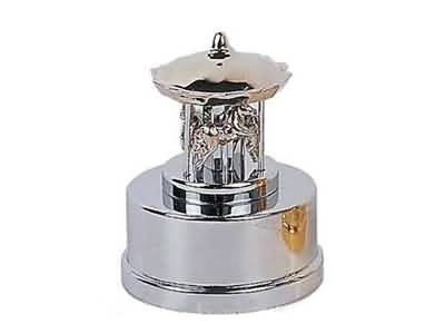 Silver running horse music box