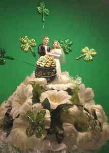 Wedding Cake Topper Irish Wedding Green & White