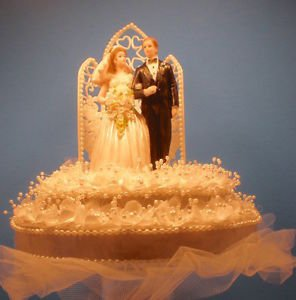 Wedding Cake Topper Silver & White with Bride & Groom