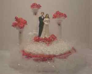 Wedding Cake Topper Red & White with Bride and Groom