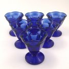 Vintage Cobalt Blue Anchor Hocking  Ice Cream Dessert Dishes  Set of 6