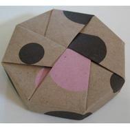 Origami Octagon Box - Kraft Pink and Chocolate Polka Dot