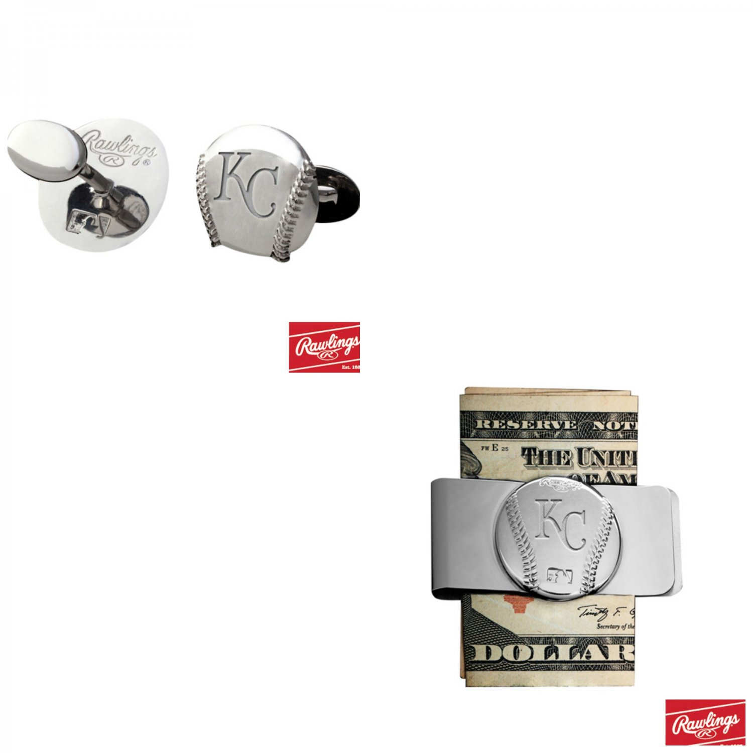 THE Great Gift ! Kansas City Royals, Cuff Links � Money Clip