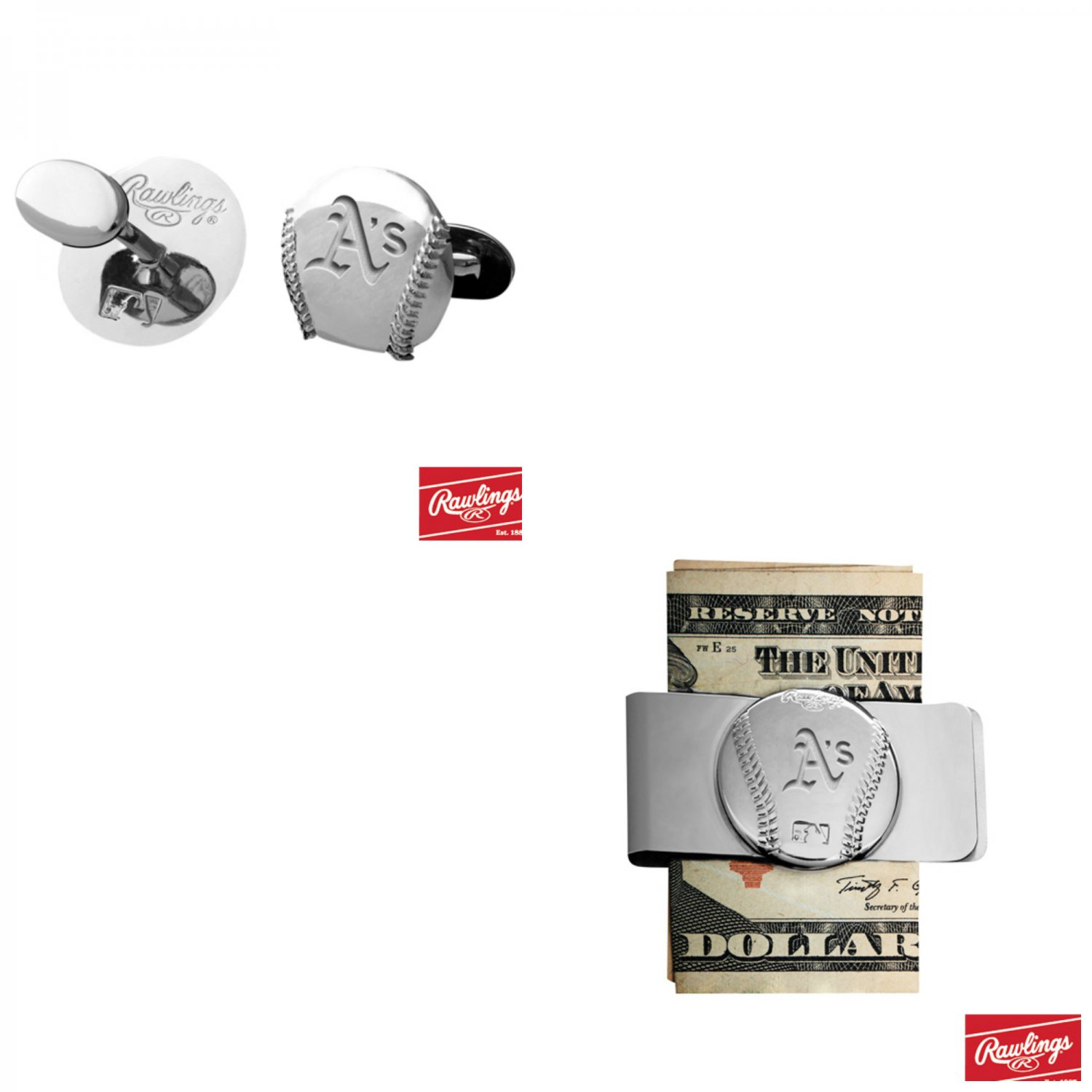 THE Great Gift ! Oakland Athletics, Cuff Links � Money Clip