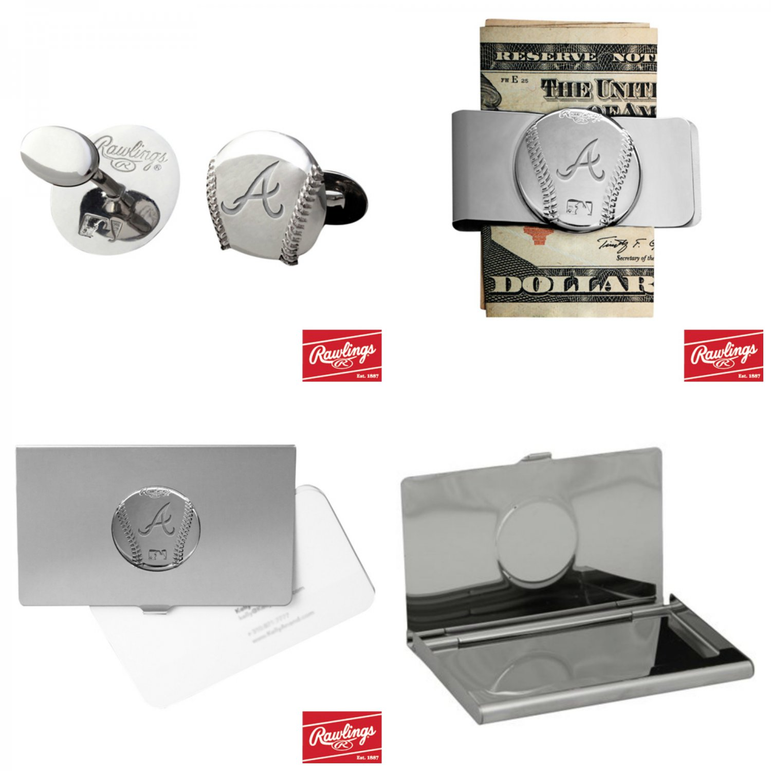 THE Perfect Gift ! Atlanta Braves� Cuff Links � Money Clip � Business Card Holder