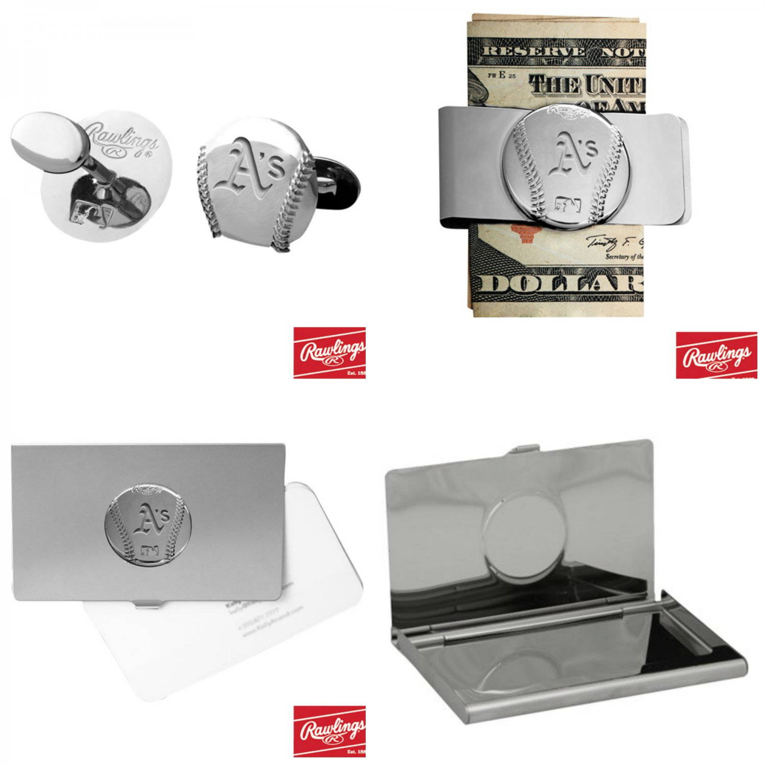 THE Perfect Gift ! Oakland Athletics� Cuff Links � Money Clip � Business Card Holder