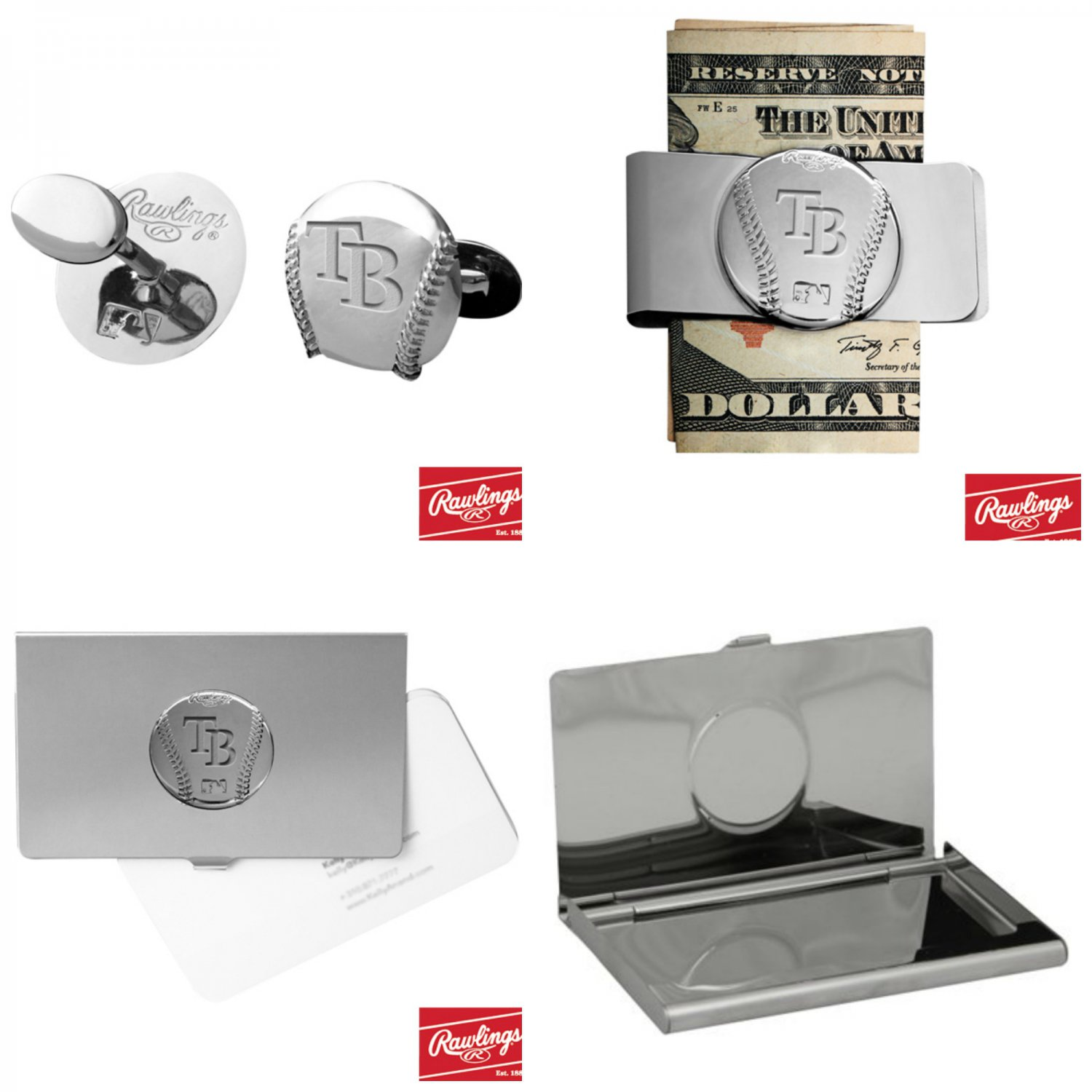 THE Perfect Gift ! Tampa Bay Rays� Cuff Links � Money Clip � Business Card Holder