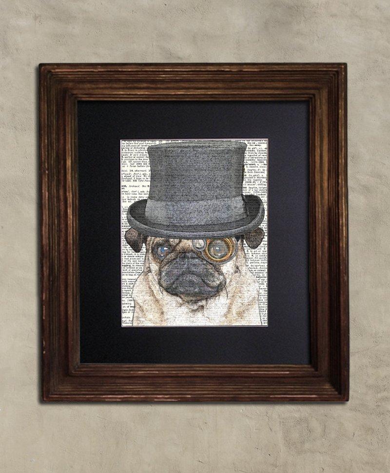 Dictionary Print: Scrappy Pug, Steampunk Dog Art Print