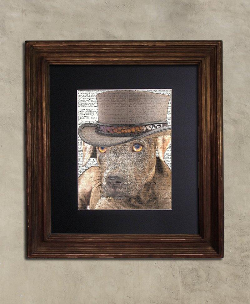 Dictionary Print: Unshakable Pitbull Pup, Steampunk Dog Art Print