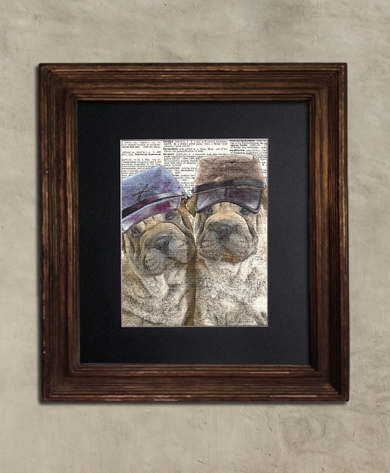 Dictionary Print: Amity Sharpei Duo, Steampunk Dog Art Print
