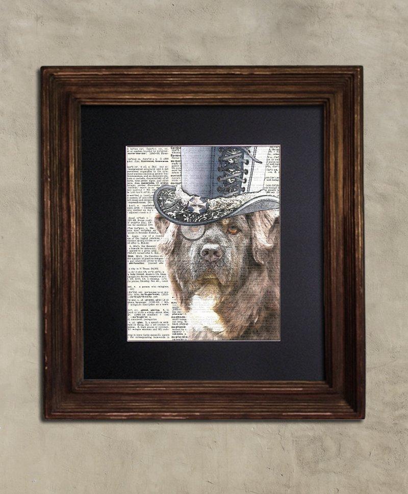 Dictionary Print: Steampunk Redoubtable Tibetan Mastiff in Top Hat, Steampunk Dog Art Print