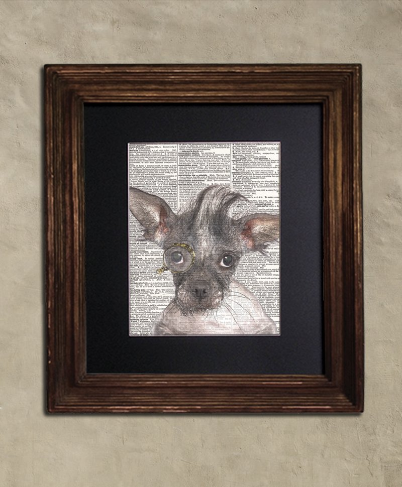 Dictionary Print: Timid Chinese Crested in Monocle, Dog Art Print, Steampunk Animal Print