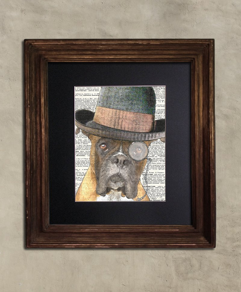 Dictionary Print: Doughty Boxer in Bowler, Steampunk Dog Print, Art Print