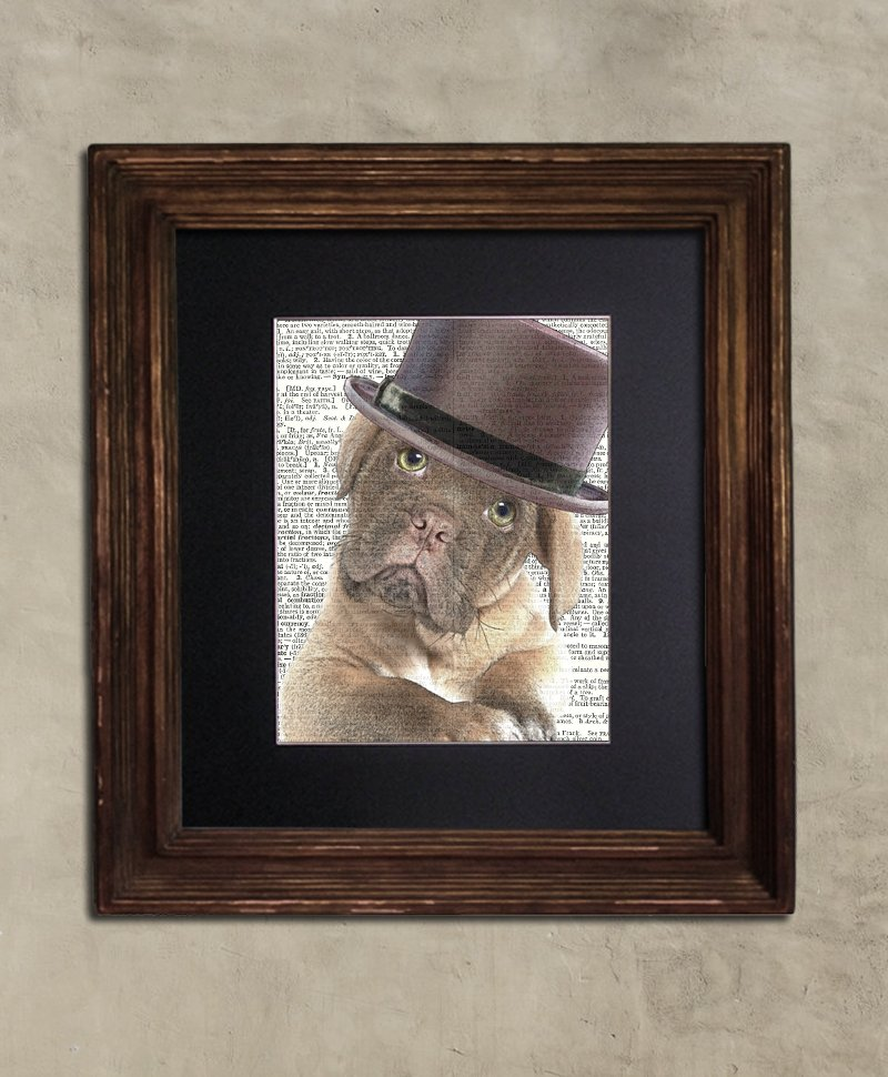Dictionary Print: Cuddlesome Mastiff Pup; Steampunk Dog, Dog Art Print