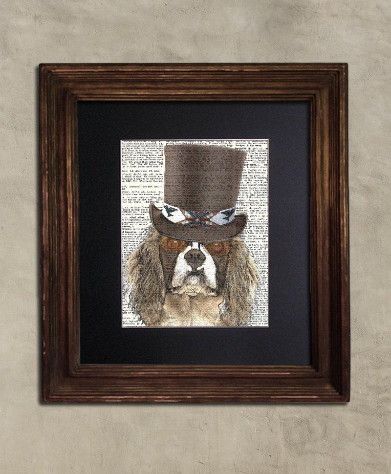 Dictionary Print: Dandy King Charles Spaniel, Steampunk Dog, Dog Art Print