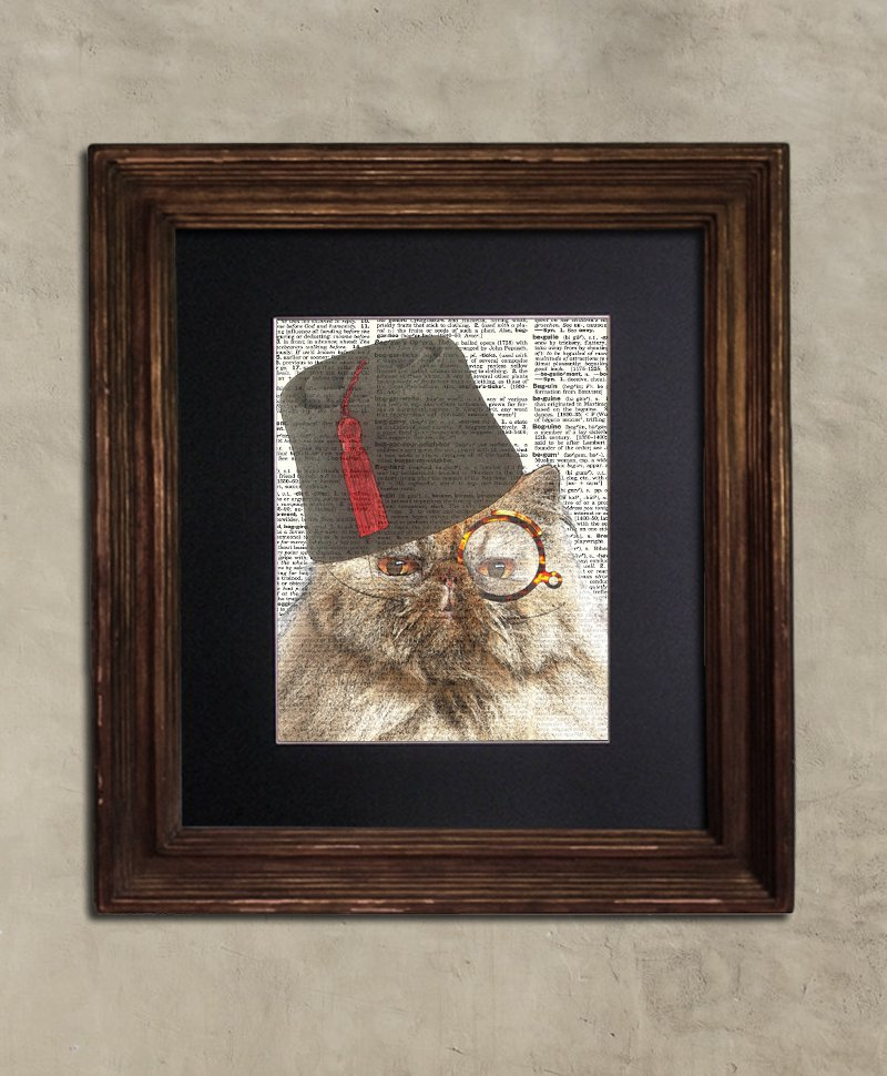 Dictionary Print: Inscrutable Persian Cat in Fez, Steampunk Cat Art Print