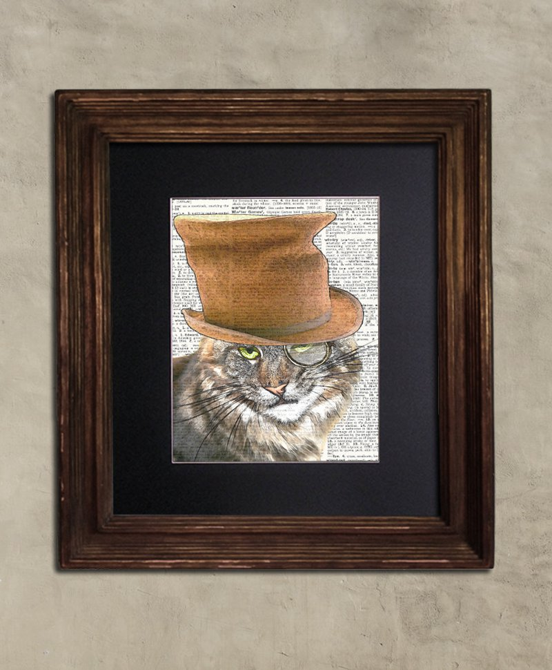 Dictionary Print: Sardonic Steampunk Maine Coon, Steampunk Cat Art Print