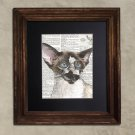 Dictionary Print - Cat Art: Astucious Steampunk Siamese Cat in Goggles, Steampunk Cat Print