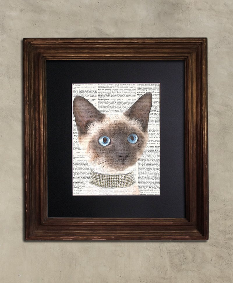 Dictionary Print: Precocious Siamese Cat in Diamond Choker, Steampunk Cat Artwork