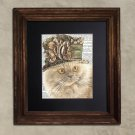 Dictionary Print: Splendiforous Persian Cat in Frilly Hat, Steampunk Cat Artwork