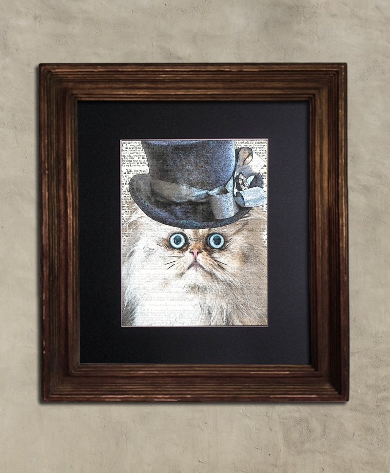Dictionary Print: Bewildered Persian in Frilly Top Hat, Steampunk Cat Artwork