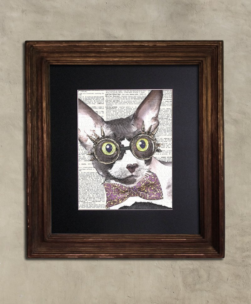 Dictionary Print: Voracious Cornish Rex Cat, Steampunk Cat Artwork
