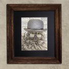 Dictionary Print: Nonpareil Grey Selkirk Rex Cat in Bowler, Steampunk Cat Art Print