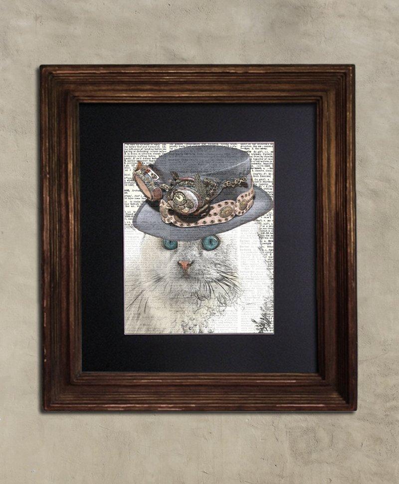 Dictionary Print: Cogent Angora Cat, Steampunk Cat Print