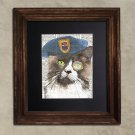 Dictionary Print: Zealous Cat in Beret, Steampunk Cat Art Print