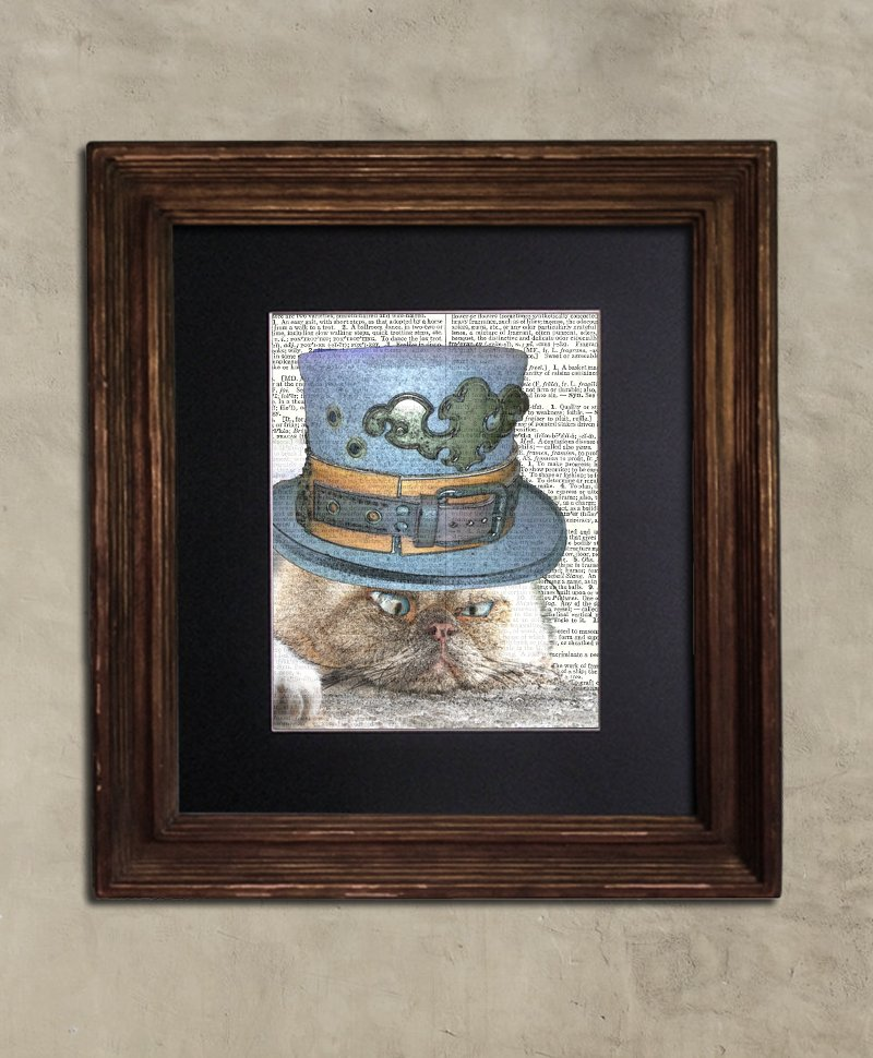 Dictionary Print: Befuddled Persian Cat, Steampunk Cat Artwork