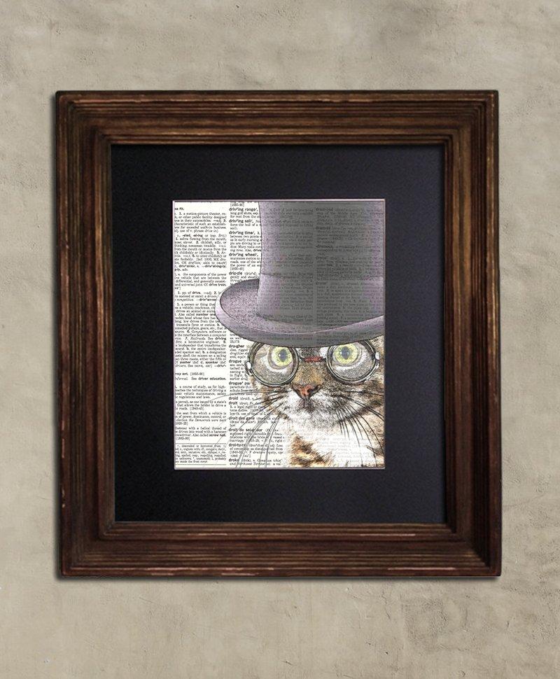 Dictionary Print: Elegant Tabby Cat, Steampunk Cat Art Print