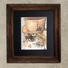 Dictionary Print, Cat Art: Peachy Siberian Cat, Steampunk Cat Art Print