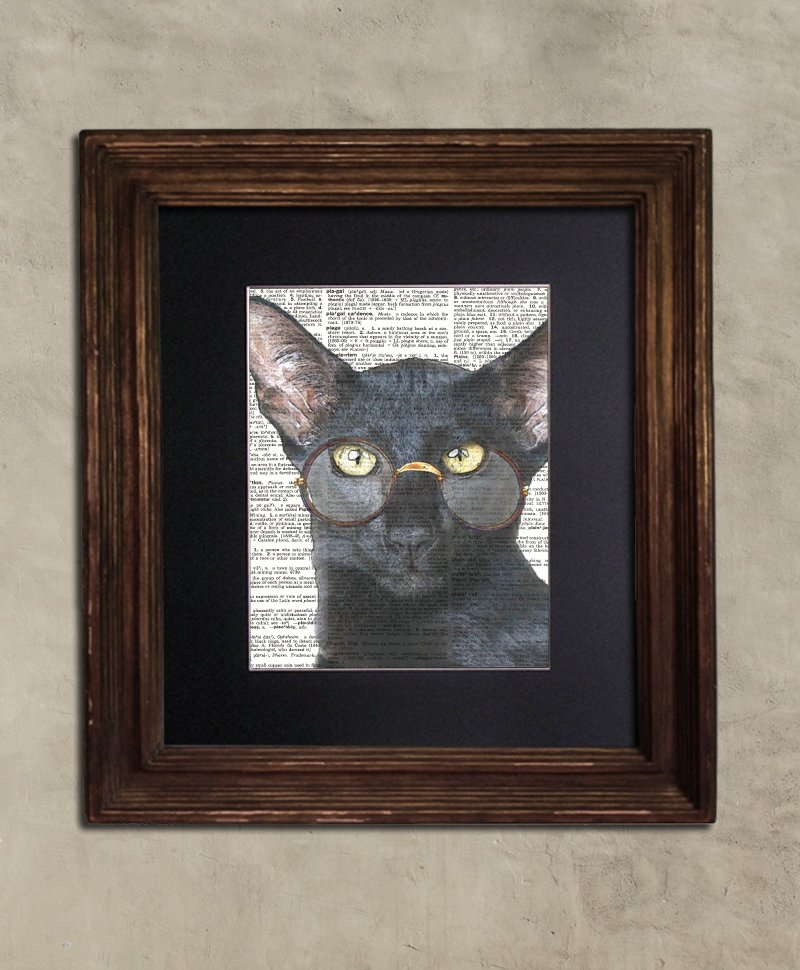 Dictionary Print: Meritorious Steampunk Black Cat, Steampunk Cat Art Print