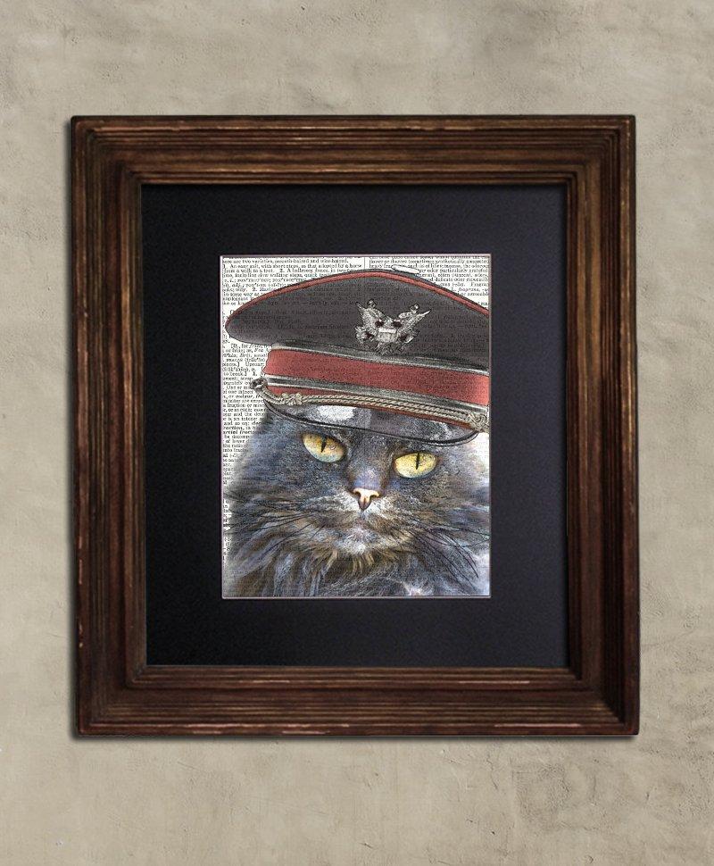 Dictionary Print: Decisive Steampunk Grey Cat, Steampunk Cat Art Print