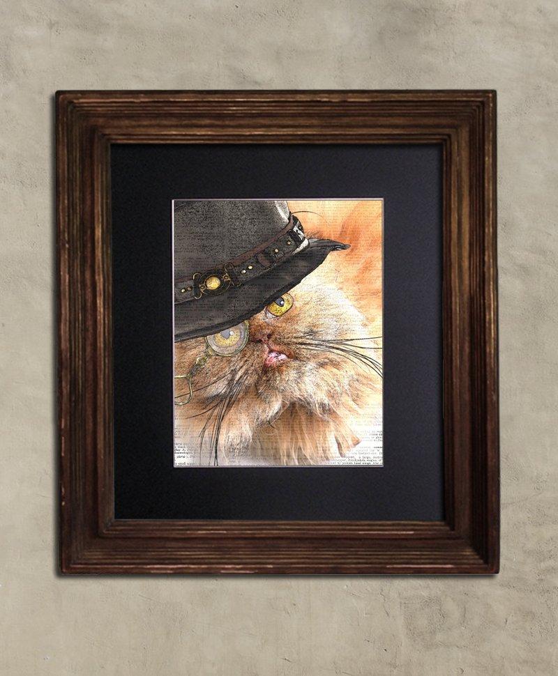 Dictionary Print, Steampunk Cat Print: Ruminative Persian Cat in Top Hat, Steampunk Cat Artwork